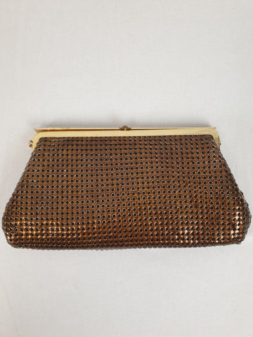 'Vintage Style' Bronze Mesh Clutch Bag Womens Accessory