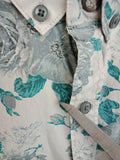 WAYNE COOPER Button-up Shirt Light Grey with Teal and Dark Grey Floral Print Mens M