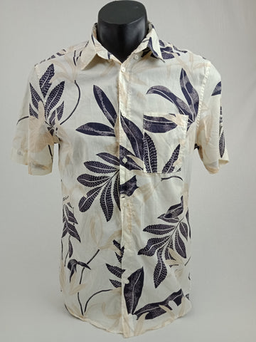 H&M Off White Floral Button-Up Mens Size S