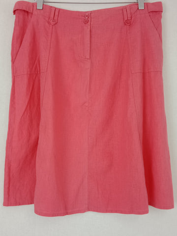 KATIES Pink Linen & Cotton Skirt Womens Size 14