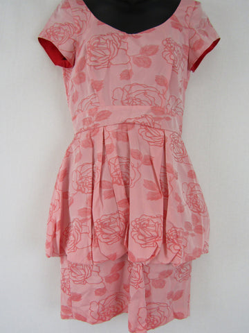 PATRICIA FIELD Red & Pink Floral Dress Womens Size XS