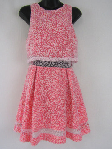 BLUEJUICE Neon Pink & Lace Dress Womens Size 10