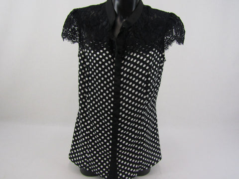 REVIEW Polka Dot Lace Top Womens Size 8