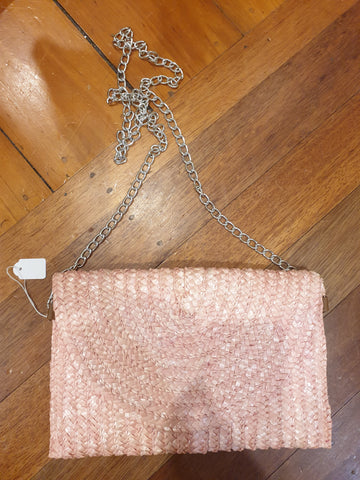 Pink Straw Womens Shoulder Bag