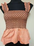 BNWT Line & Dot Peach Linen & Cotton Top Womens XS