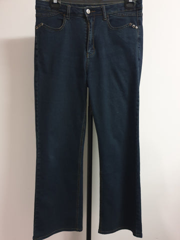 VIVA Mid-rise Wide leg Dark Denim Jeans Womens Size 14