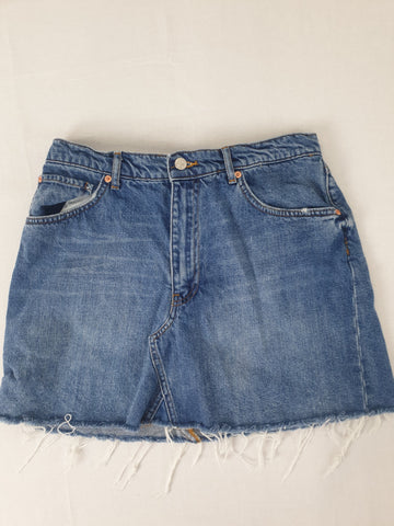 Zara Woman Dark Blue Denim Skirt Womens Size L
