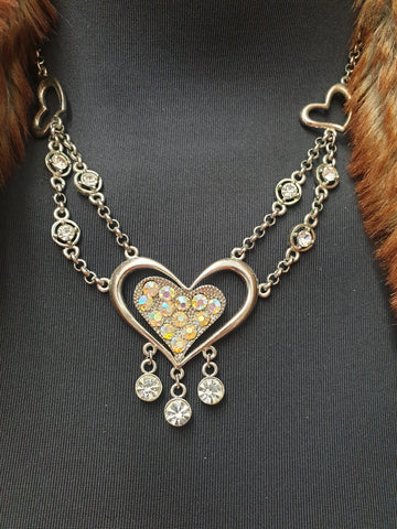 Diamante & Silver Heart Necklace Womens Accessory