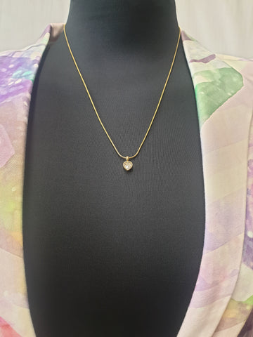 Gold Chain with Diamond Pendant Necklace Womens Accessory