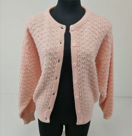 Pink Old School Knit Cardigan Womens Size 14