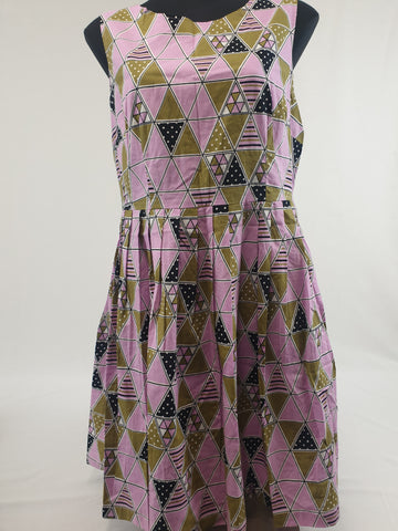 'Vintage Style' Revival Colorful Cotton Dress Womens Size 14