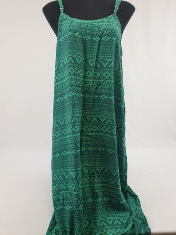 Green Print Maxi Summer Dress Womens Size L