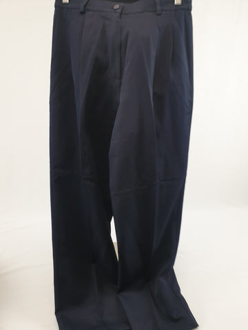 Vintage Hi-Waist Pleated Navy Pants Womens Size 14
