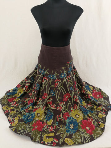 THE WORKS Floral Cotton Skirt Womens Size 10