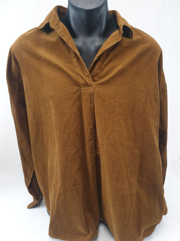 Uniglo Corduroy Look Rust Shirt Mens Size XL