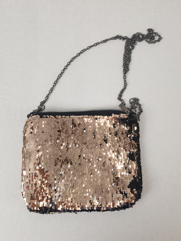 Black & Gold Shimmer Sequin Bag Womens Accessory
