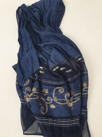 Navy & Gold Scarf Womens Accessory