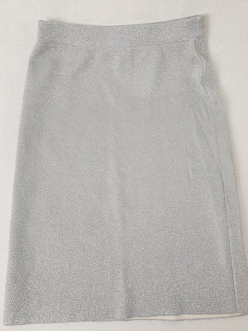 French Connection Silver Glitter Skirt Womens Size S