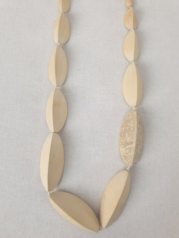 Ivory Beaded Long Stylish Necklace Womens Accessory