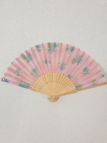 Pinky Gold Floral Fan Womens Accessory