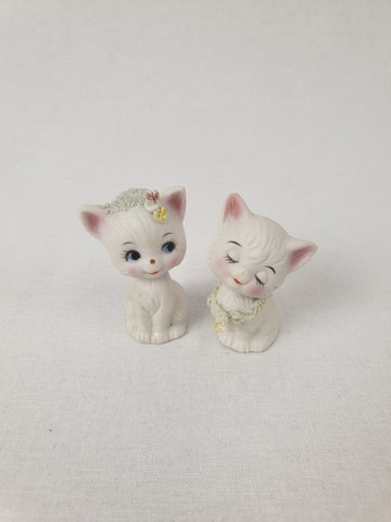 Porcelain Pair of Kitten Ornaments Decor / Homewares