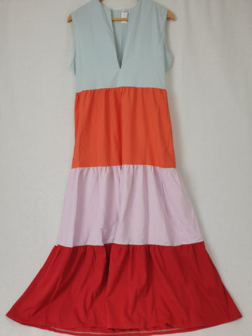 Colorful Frill Layer Maxi Dress Womens Size L