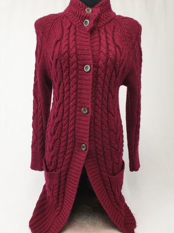 WOOLOVERS 100% Wool Burgundy Long Cardi Jacket Womens Size S