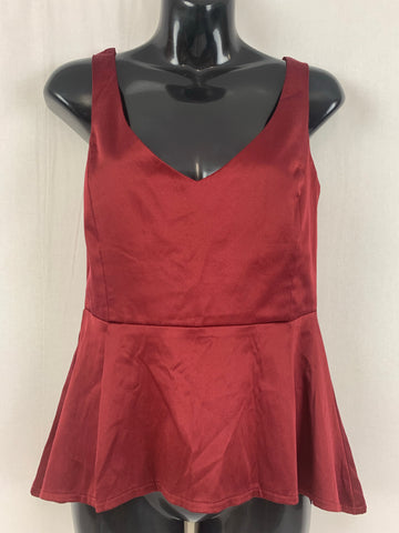 ASOS 🎄 Satin Burgundy Top Womens Size 10