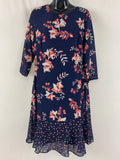 CAPTURE Navy Floral Ruffle Hem Dress Womens Size 8