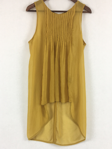 Mustard Sheer Top Womens Size 10