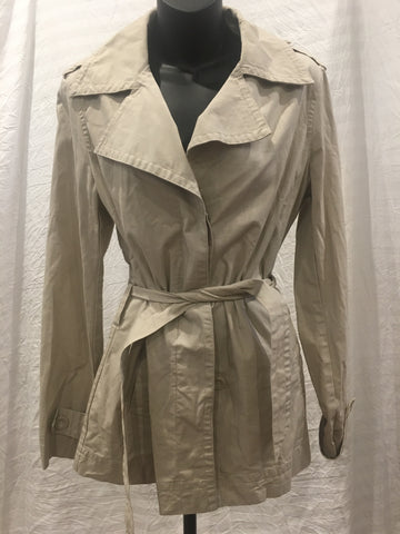 Beige Trench Style Coat Womens Size 12