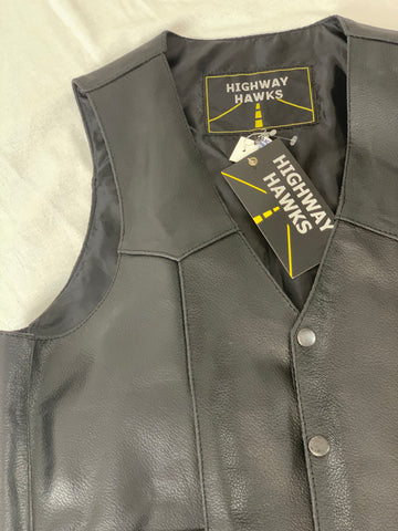 Highway Hawks Men's Leather Vest Size Small