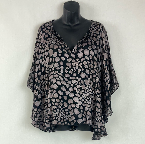 BRAND UNKNOWN Silver Print Blouse Womens Size L