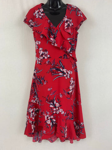 PREVIEW Red & Floral Dress Womens Size 10 *Reduced*