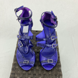 SACHI Purple Leather Strappy Pumps Womens Size 38