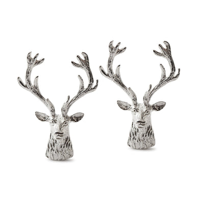 Sterling Silver Stag's Head Cufflinks-Hamilton & Inches
