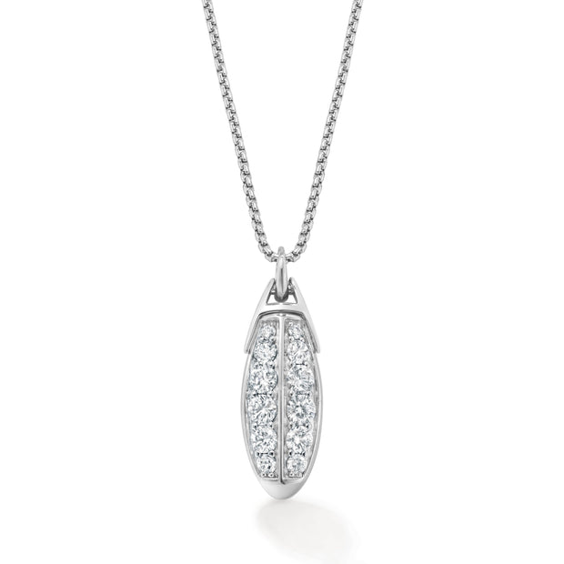 Signature Double Row Pendant in 18ct White Gold - Hamilton & Inches