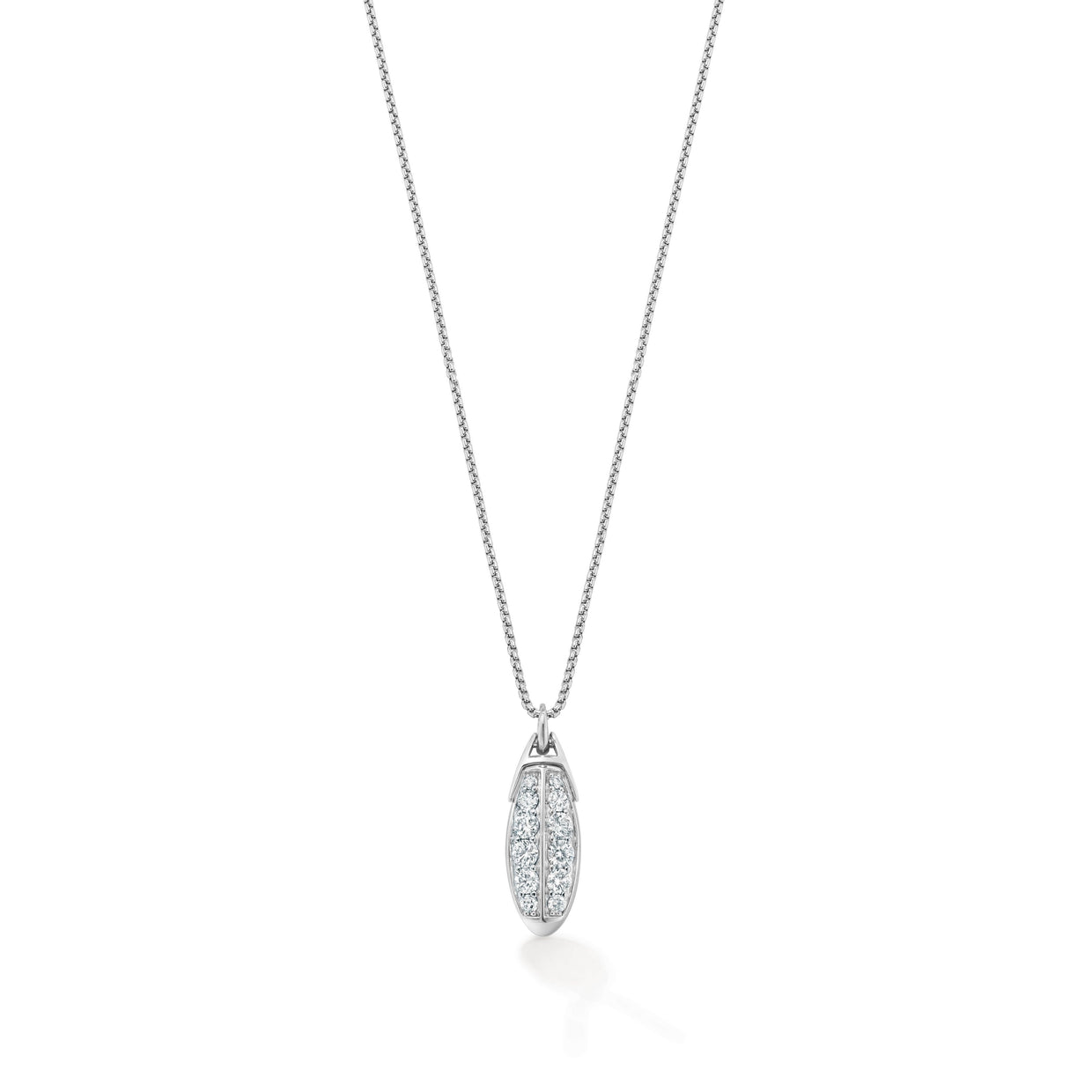 Signature Double Row Pendant in 18ct White Gold-Hamilton & Inches