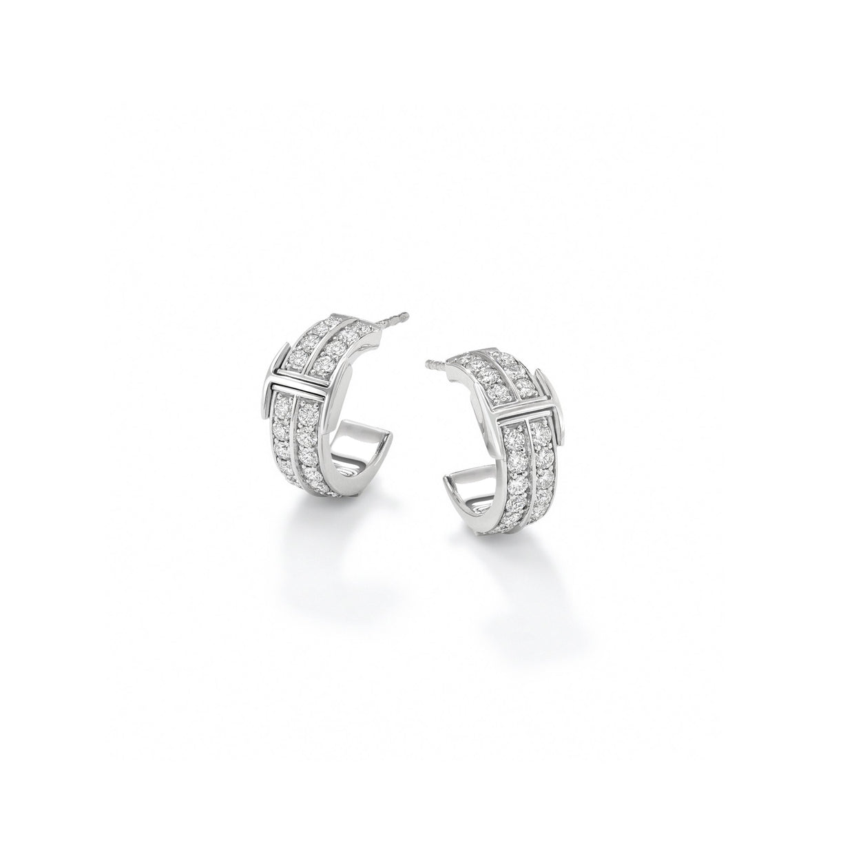 Signature Half-Hoop Huggie Earrings in 18ct White Gold-Hamilton & Inches