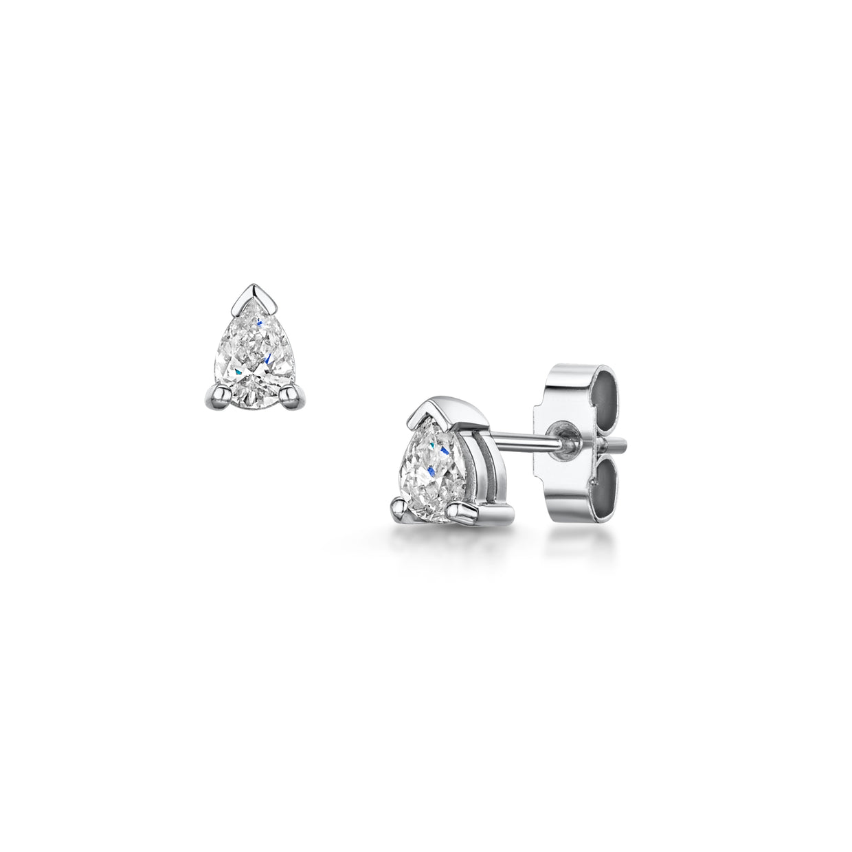 Pear Cut Diamond Stud Earrings in 18ct White Gold-H & I-Hamilton & Inches