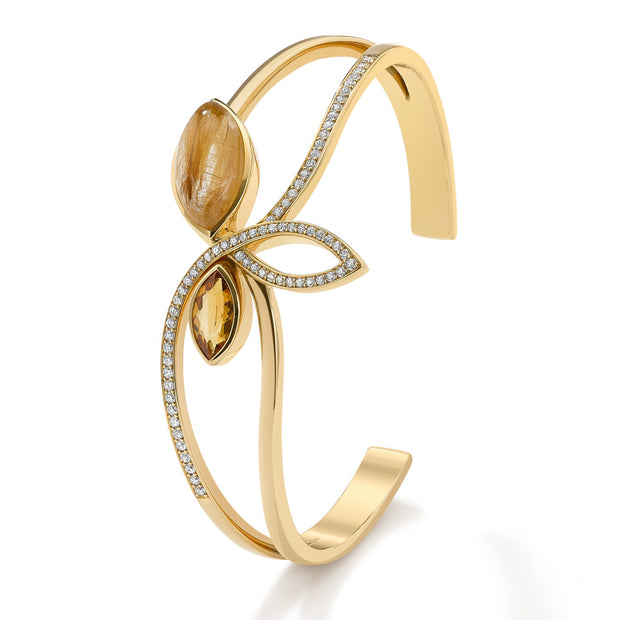 Flora Cuff Bracelet in 18ct Yellow Gold-Hamilton & Inches