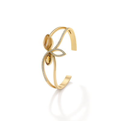Flora Cuff Bracelet in 18ct Yellow Gold - Hamilton & Inches
