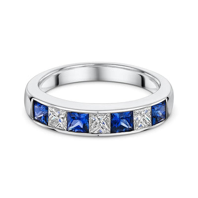 1.18ct Princess Cut Sapphire Eternity Ring in White Gold-Hamilton & Inches