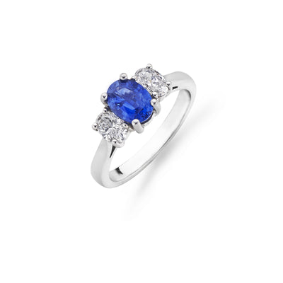 White Gold Oval-Cut Sapphire & Diamond 3-Stone Ring-Hamilton & Inches