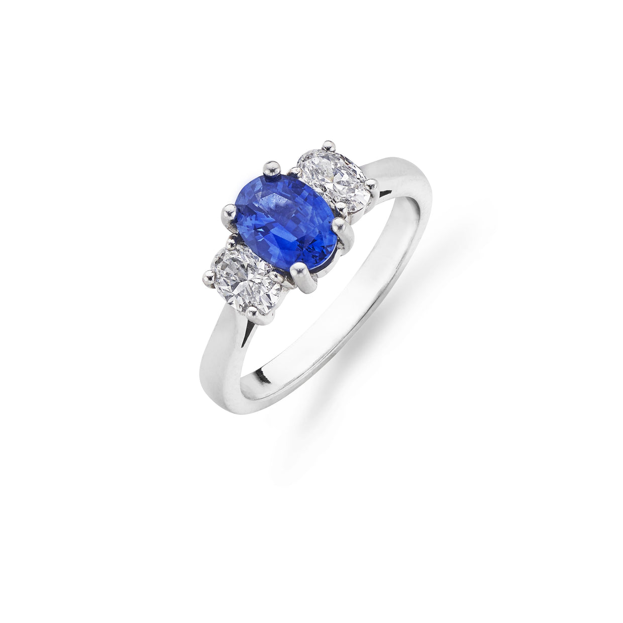 White Gold Oval-Cut Sapphire & Diamond 3-Stone Ring - Hamilton & Inches