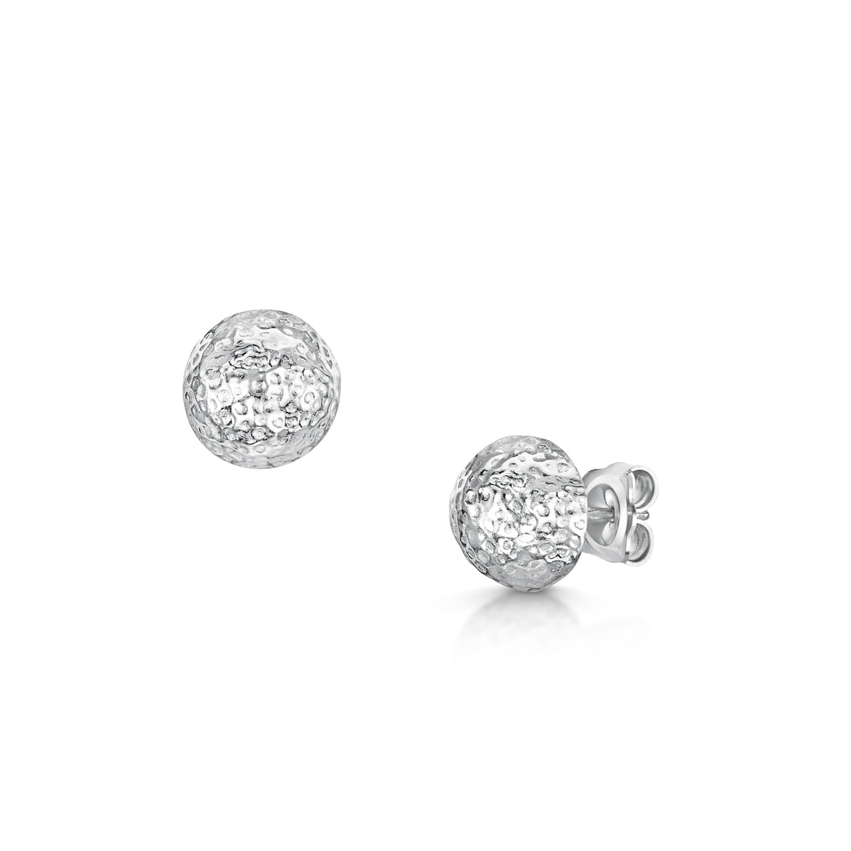 Sterling Silver Pelosi Domed Stud Earrings-Hamilton & Inches