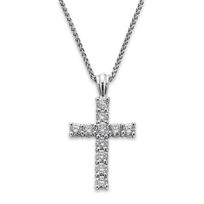 18ct White Gold Claw-Set Diamond Cross Pendant-Hamilton & Inches