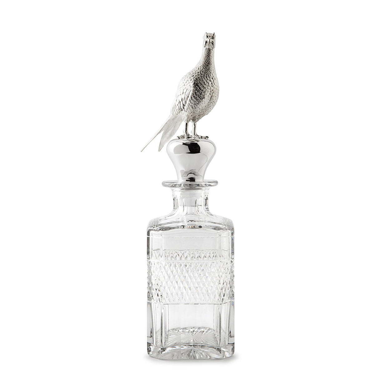 Britannia Silver Mounted 'Pheasant' Grasmere Cut Spirit Decanter - Hamilton & Inches