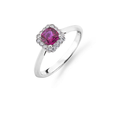 Cushion-Cut Ruby & Diamond Cluster Engagement Ring-Hamilton & Inches