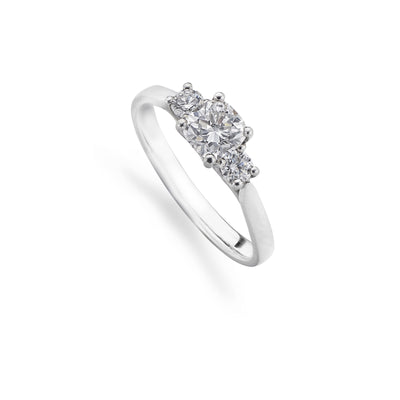 Mixed-Cut 3-Stone Engagement Diamond Ring in Platinum-Hamilton & Inches